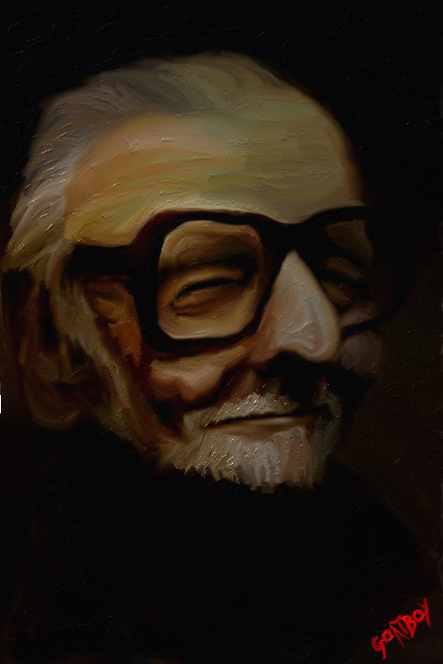 george a romero caricature oil