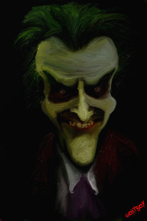 the joker caricature oil
