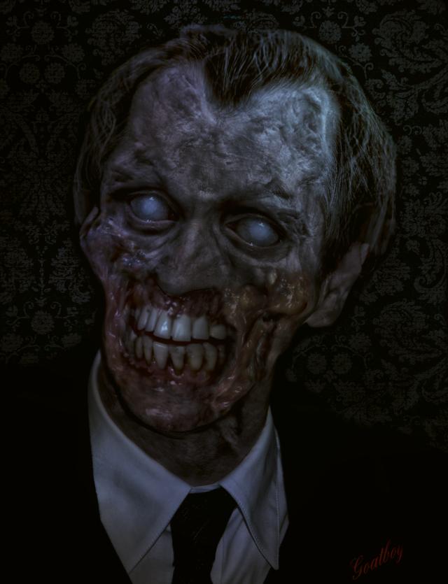 blue lit zombie